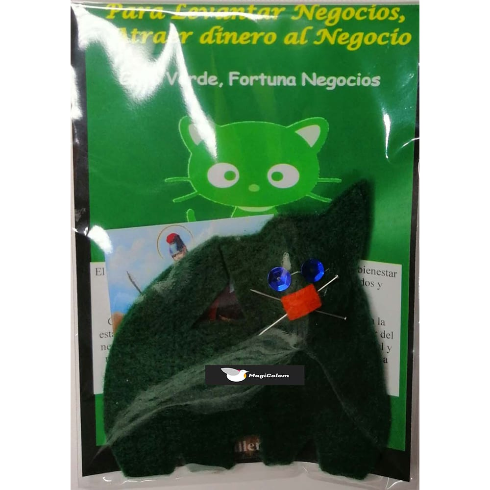 Amuleto mágico Fetiche Gato Verde
