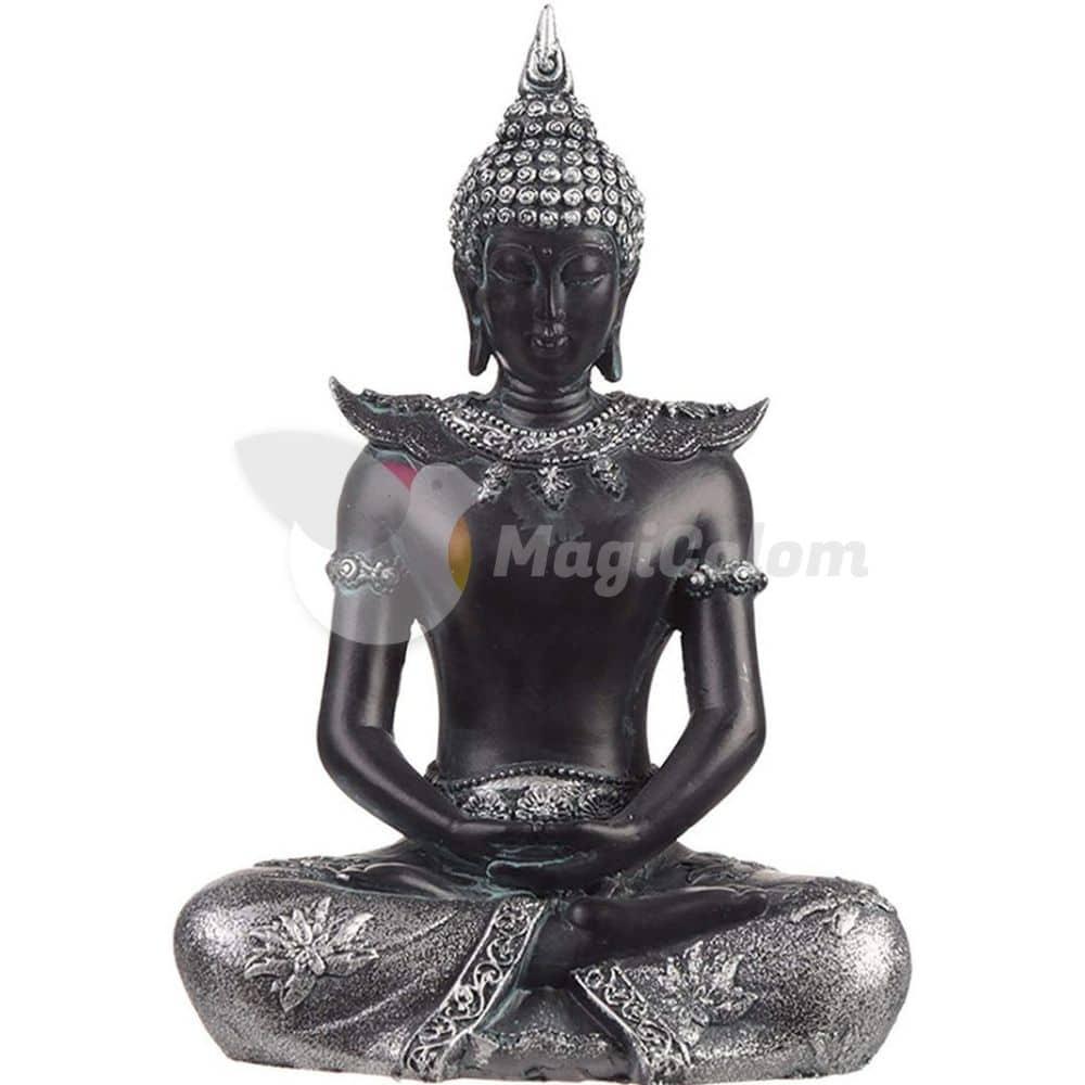 Buda Thai sentado Negro y Plata