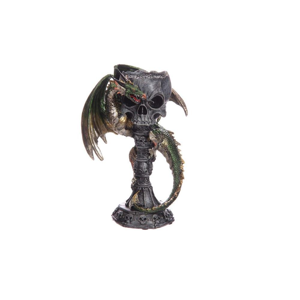 Cáliz portavela dragón verde