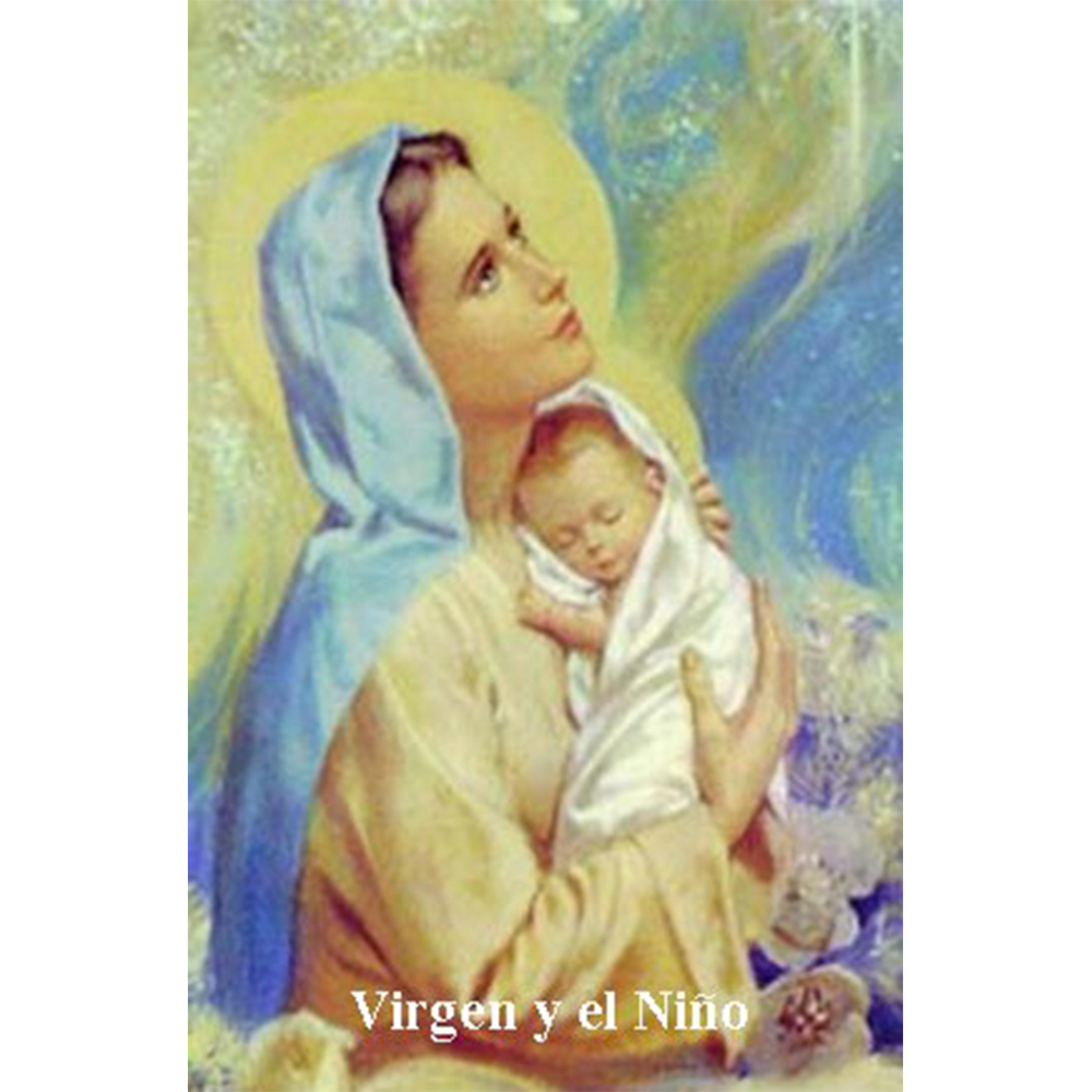 Estampa Plastificada Virgen María Con el Niño