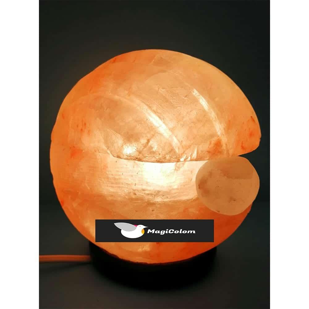 Lámpara artesanal de sal forma concha con perla