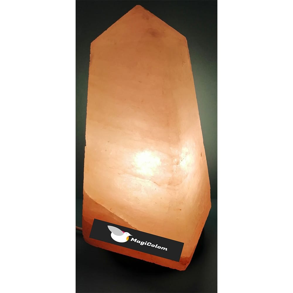 Lámpara artesanal de sal obelisco