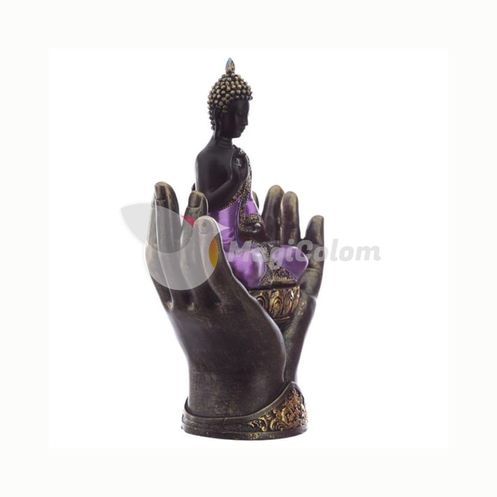 Figura Buda Tailandés y Manos, Negro y Morado