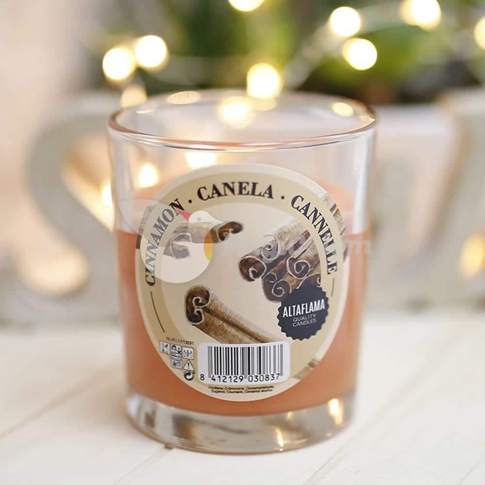 Vela aromática Canela con vaso cristal