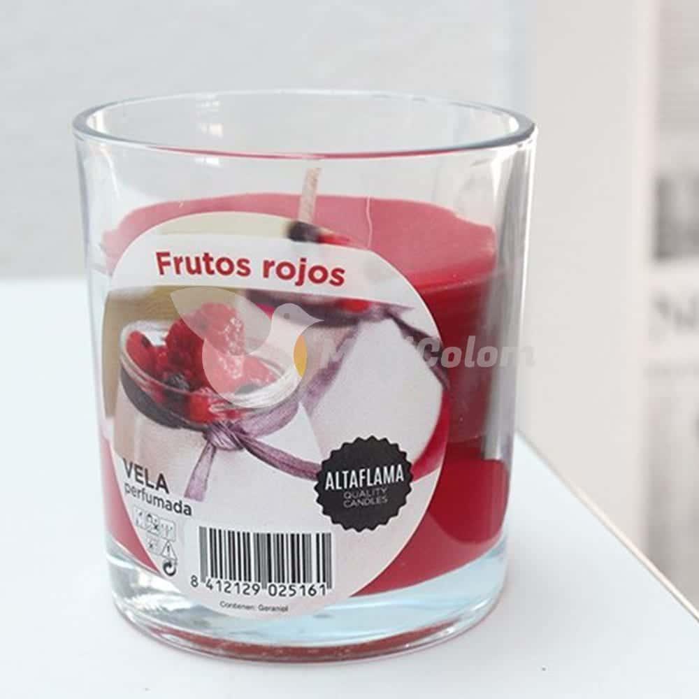 Vela aromática Frutas del Bosque con vaso cristal