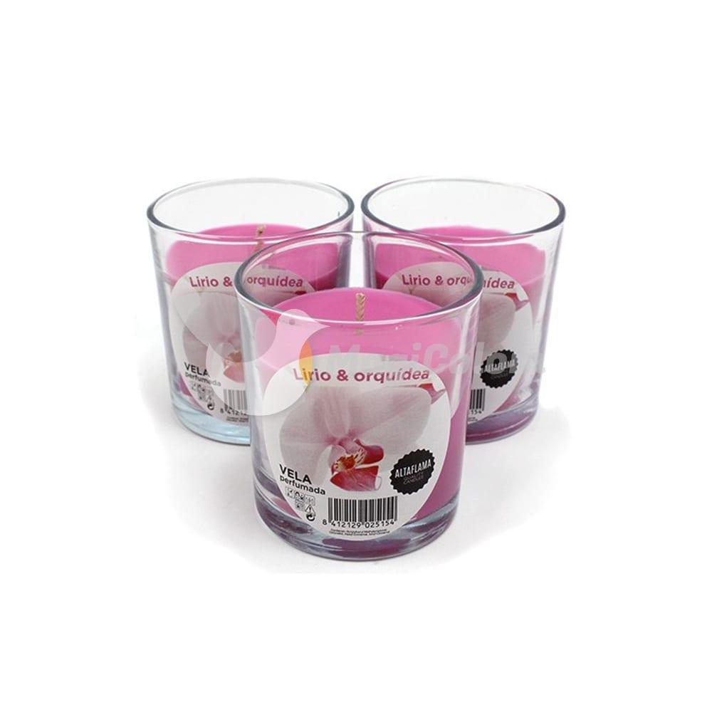 Vela aromática Lirio y Orquídea con vaso cristal