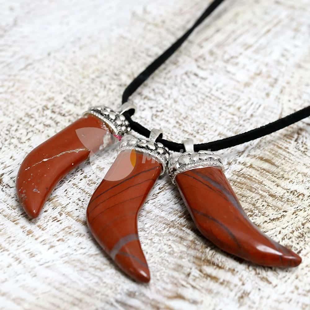 Colgante Cuerno mineral Jaspe Rojo