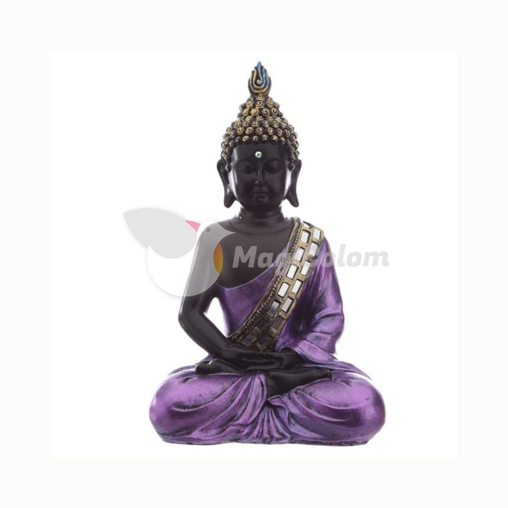 Figura Buda Tailandés Contemplación. Negro y Morado