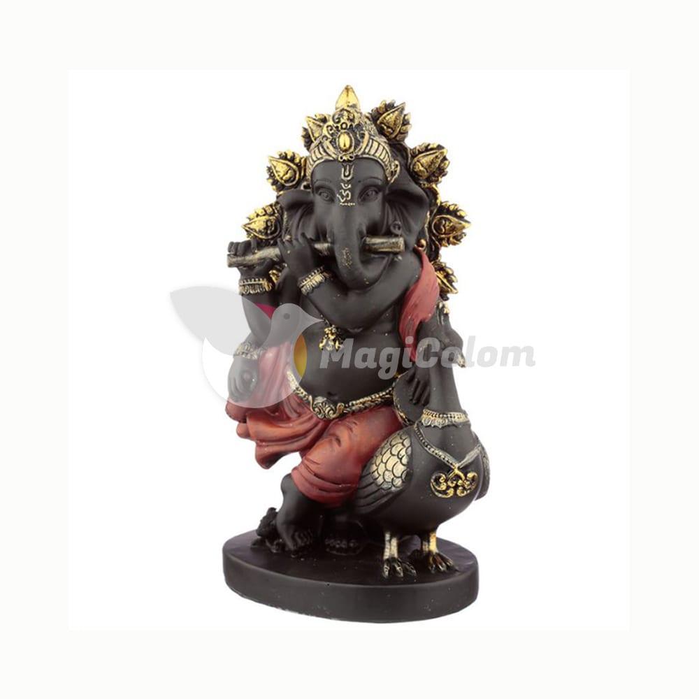 Figura Ganesha Flauta y Pavo Real