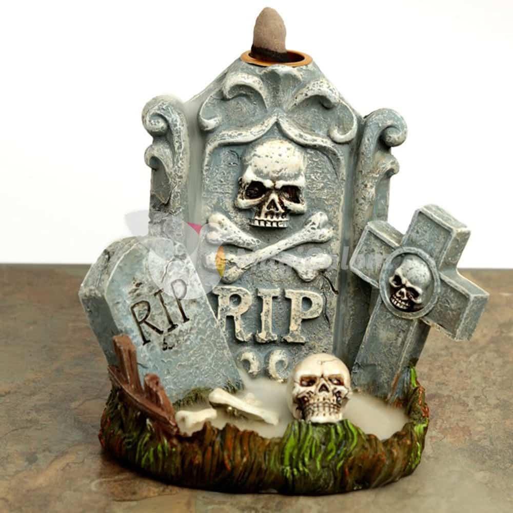 Quemador de incienso de reflujo Lápida Zombie RIP