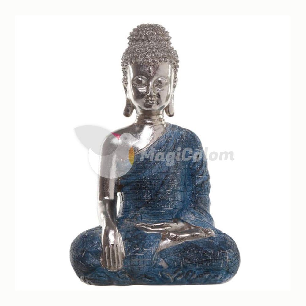 Buda Tailandés Metálico Postura de Loto Azul