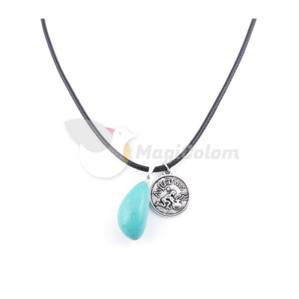 Collar Amuleto Acuario y Piedra Turquesa
