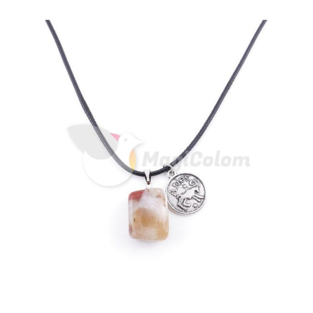 Collar Amuleto Aries y Jaspe Rojo