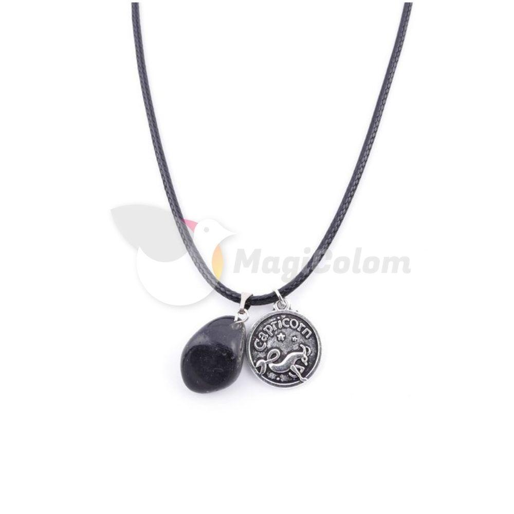 Collar Amuleto Capricornio y Piedra Obsidiana