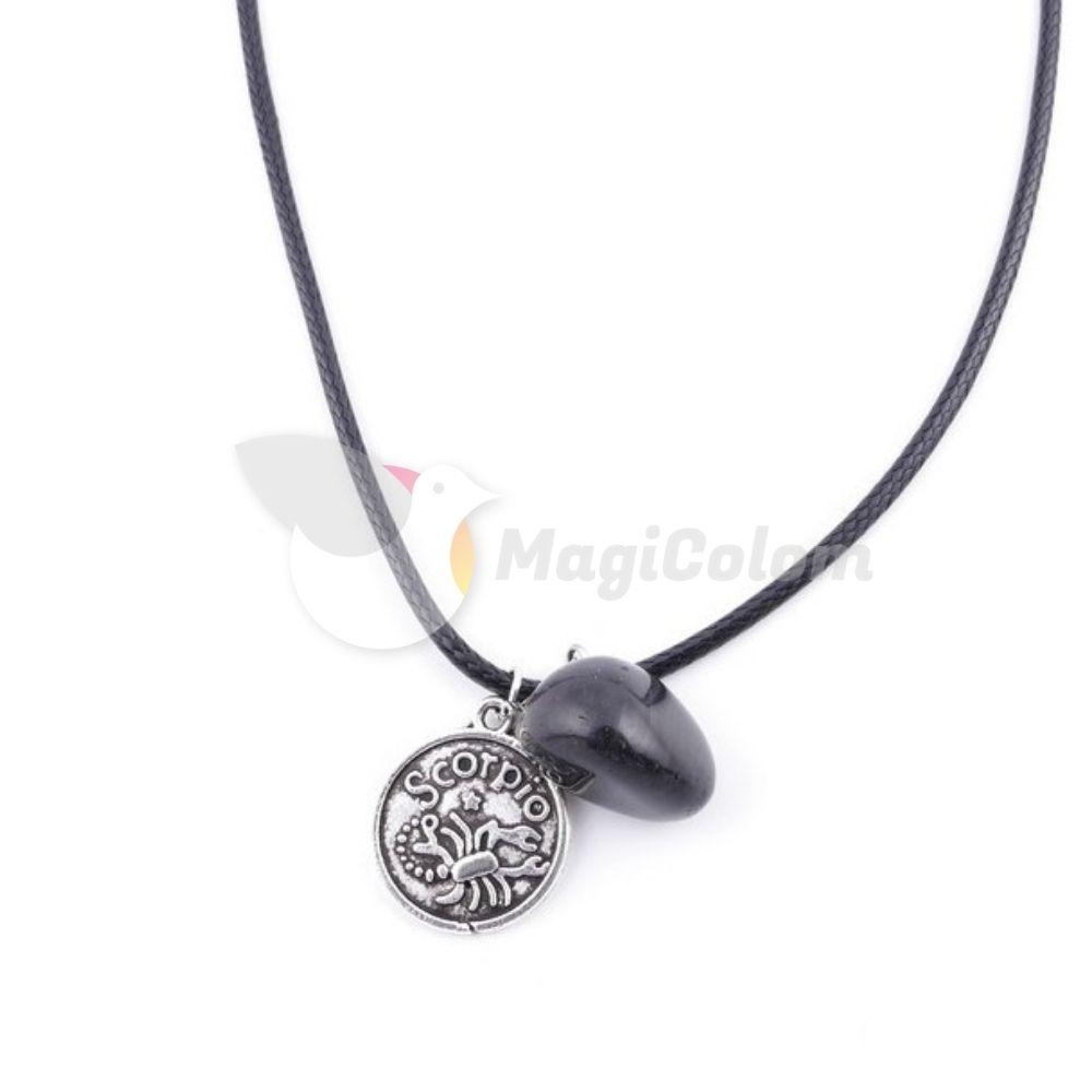 Collar Amuleto Escorpio y Piedra Onix