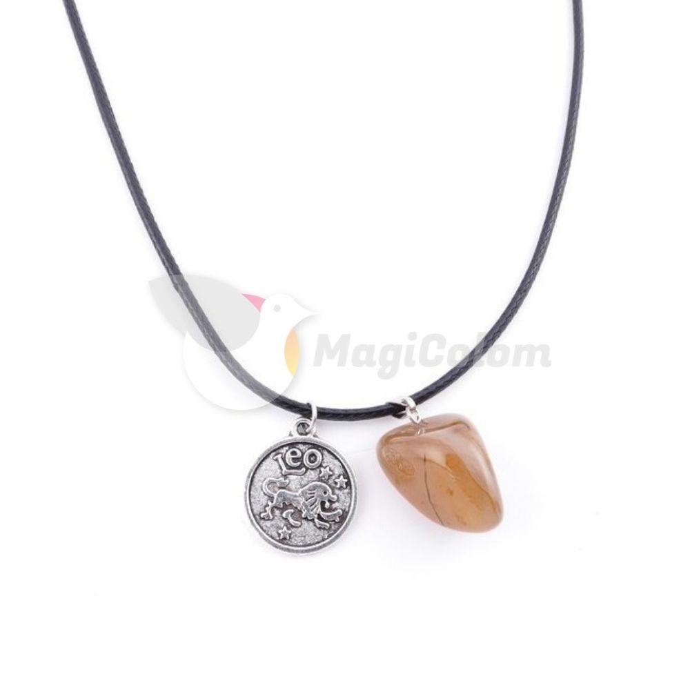 Collar Amuleto Leo y Piedra Carneola