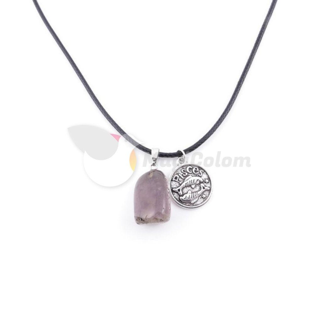 Collar Amuleto Piscis y Piedra Amatista