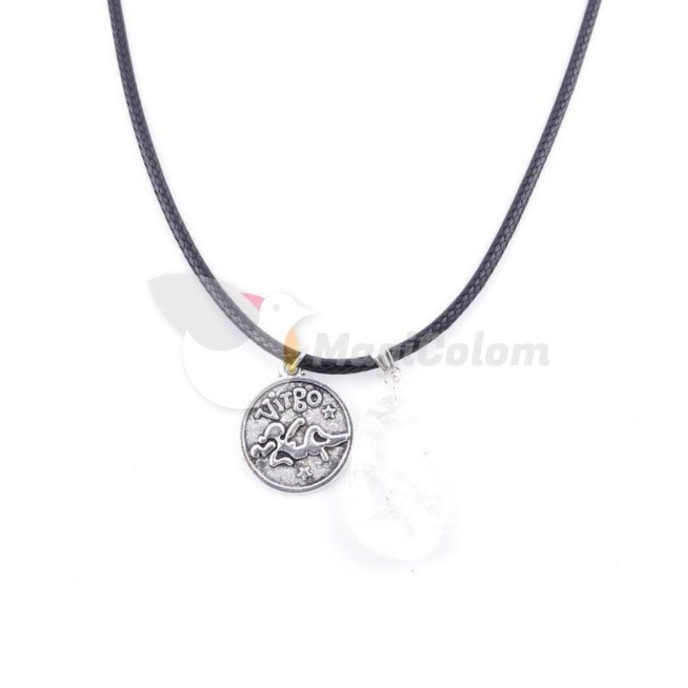 Collar Amuleto Virgo y Cuarzo Blanco